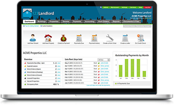 Collect payments and track rent due and keep everything accessible any
